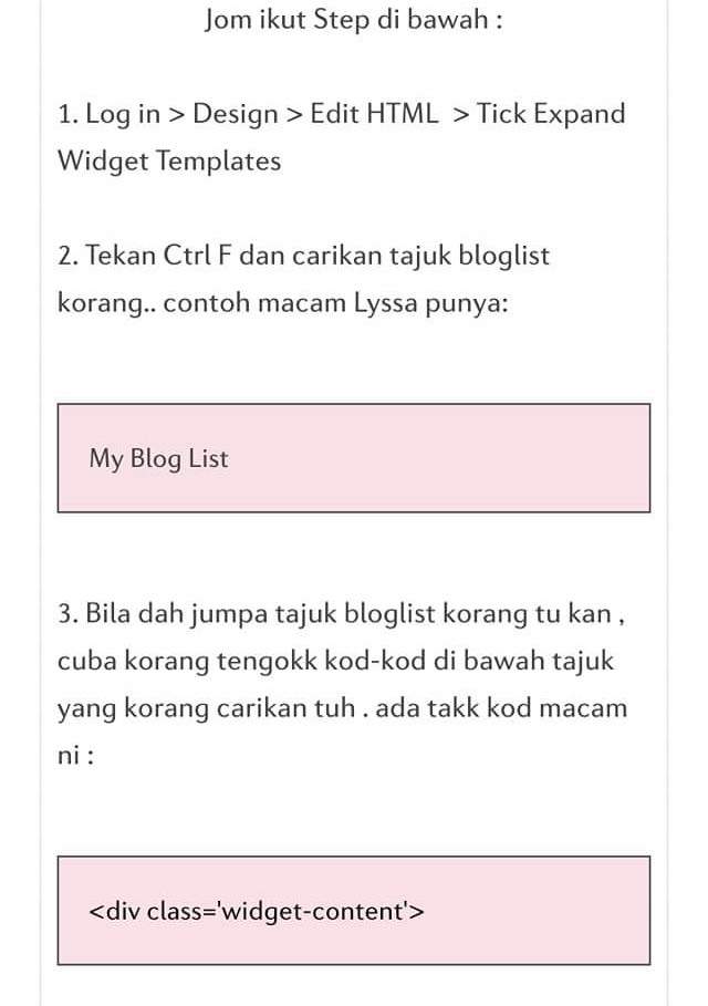 Tutorial Buat Bloglist Boleh Scroll Up & Down