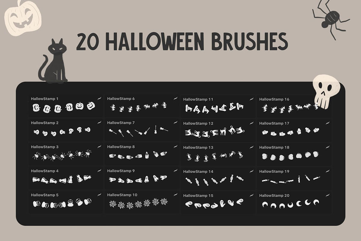 Hallow Stamp Procreate Brush.