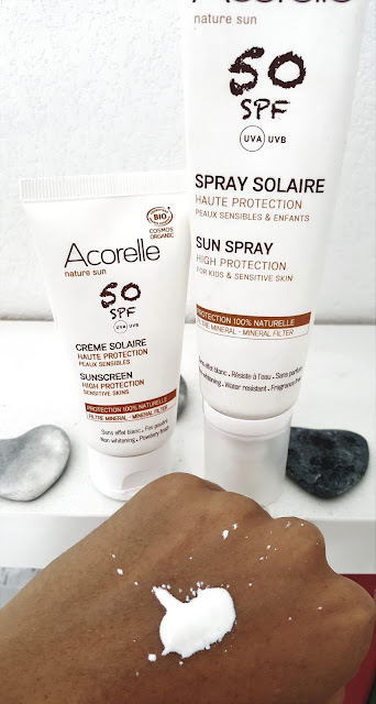 Spray solaire visage et corps SPF50 bio Acorelle - application