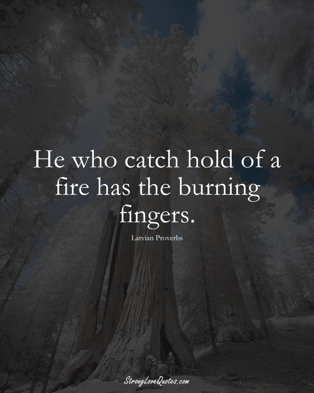 He who catch hold of a fire has the burning fingers. (Latvian Sayings);  #EuropeanSayings