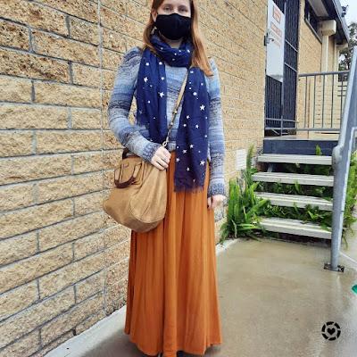 awayfromtheblue Instagram | blue ombre stripe knit with orange ocrhe maxi skirt and light khaki small chloe ethel bag