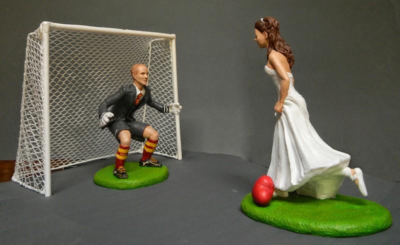cake topper matrimonio tema calcio sposa porta portiere orme magiche