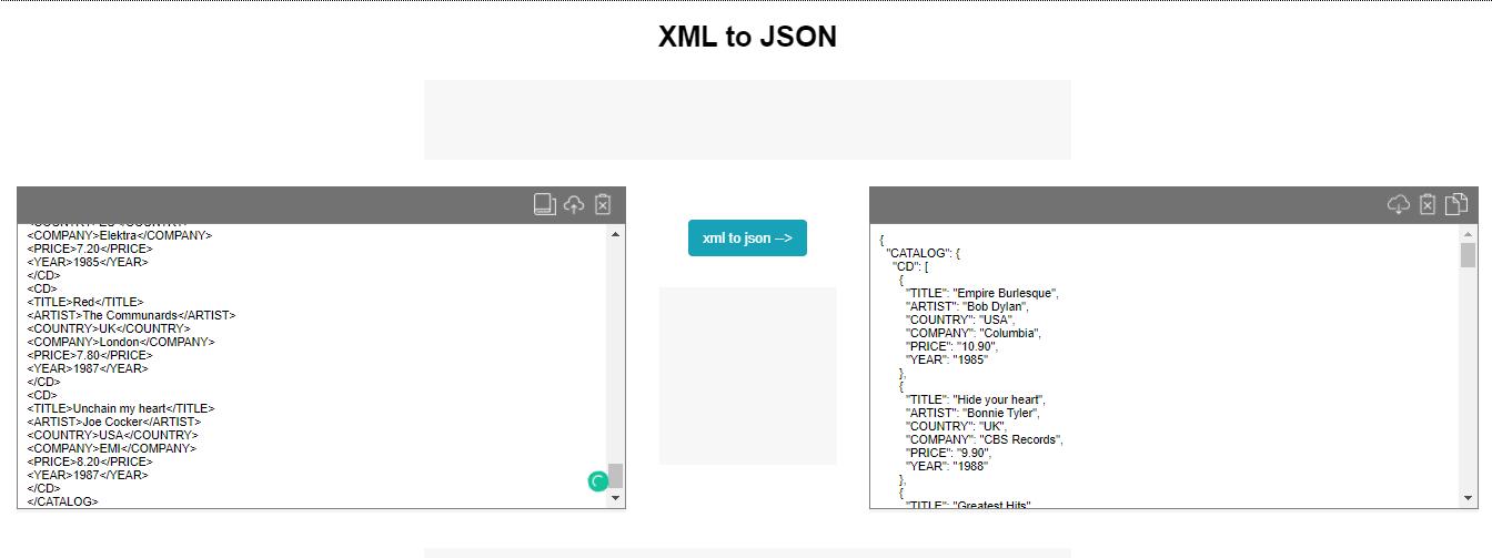 xml to jason by tool