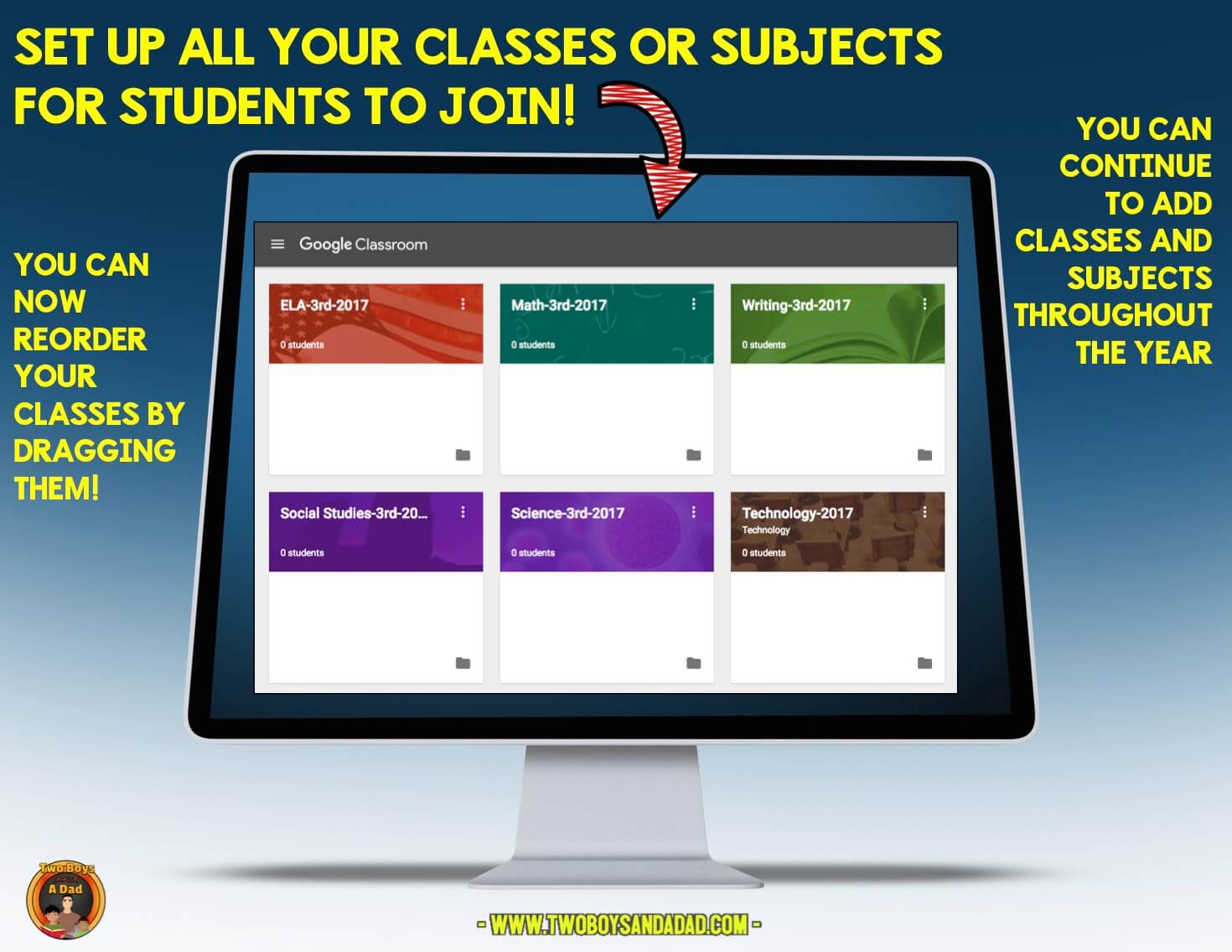Set up different subjects in Google Classroom