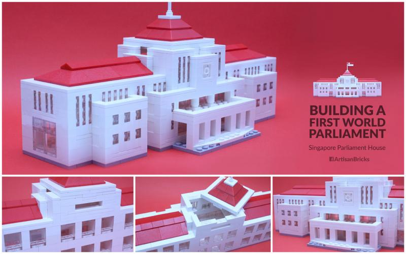 Mr Kong's company Artisan Bricks built this 800-piece Parliament House model which also works as a coin bank.