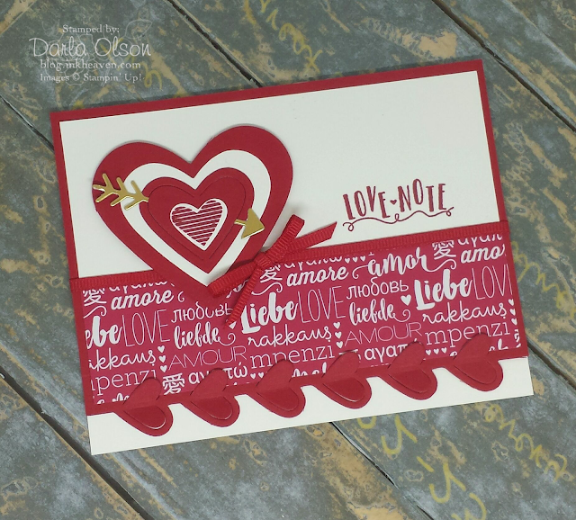 Sealed with love, arrow pierced, layered sweet and sassy hearts Valentine card shared by Darla Olson at inkheaven