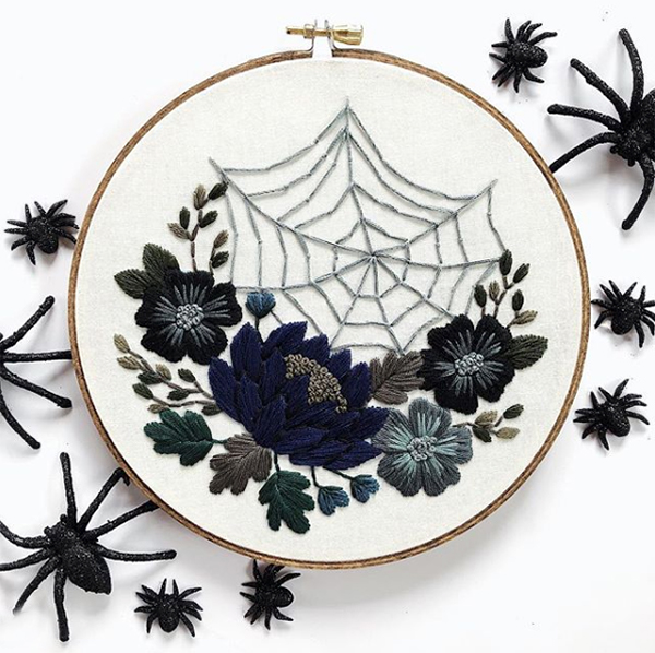 Halloween floral embroidery by Floral and Floss