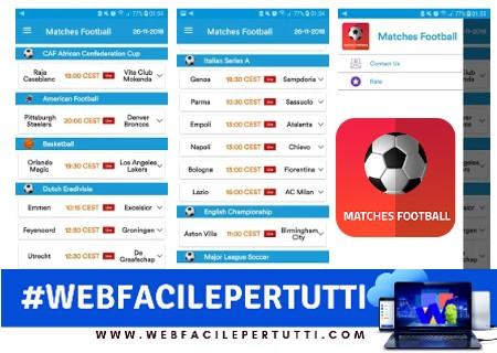 Partite di calcio - indiretta | Applicazione per vedere partite di calcio, basket, golf e tanti altri sport gratuitamente