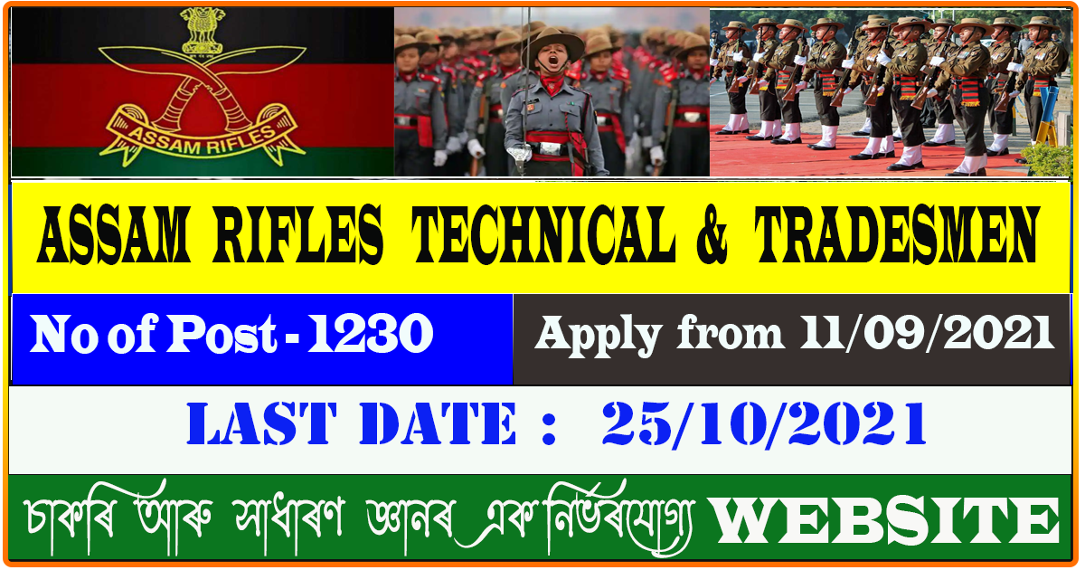 Assam Rifle Group B and C Recruitment 2021 -  Total 1230 vacancy