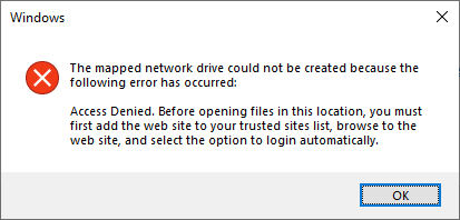 access denied. before opening files in this location, you must first add the web site to your trusted sites list