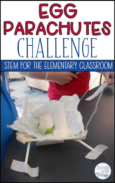 It's the Ultimate Egg Drop! A favorite for kids- using eggs and parachutes! Kids build the parachute and the egg container, test many ways, and then drop a real egg! #teachersareterrific #STEM #elementary