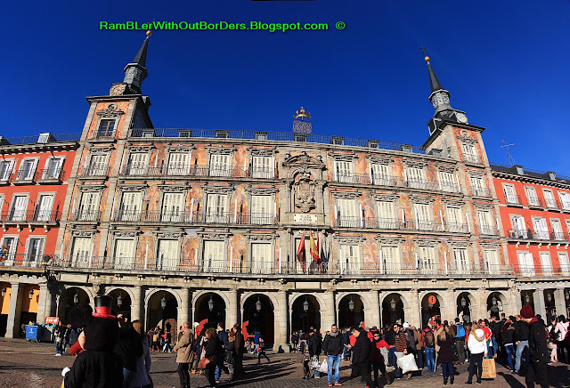 Residential buildings, Plaza Mayor, Madrid, Spain