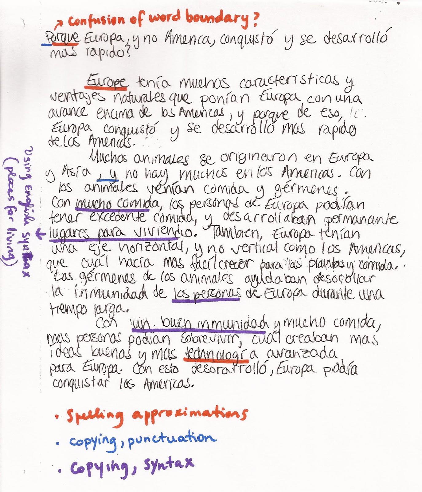 Essay written in spanish