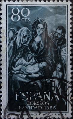 Sello La Sagrada Familia de El Greco, 1955