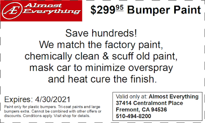 Discount Coupon $299.95 Bumper Paint Sale April 2021