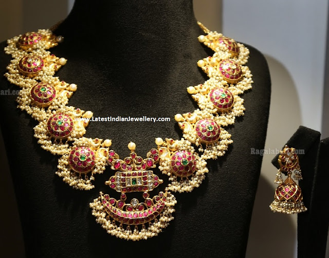 Pearl Drops Traditional Ruby Necklace