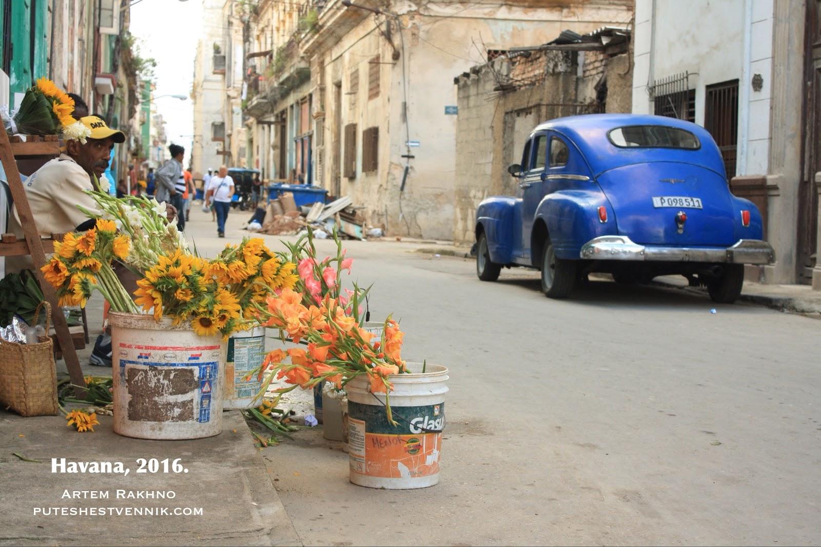 Цветы и старинное авто в Гаване