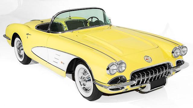 a yellow 1958 Chevrolet Corvette Convertible