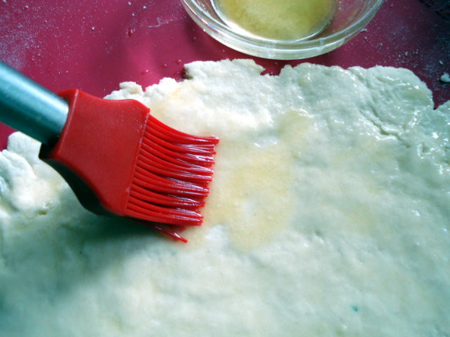 brush dough with melted butter