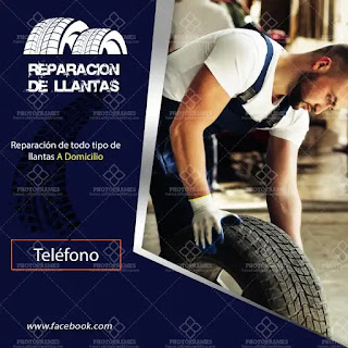 plantilla de anuncio para promocionar y buscar trabajo de reparación de llantas