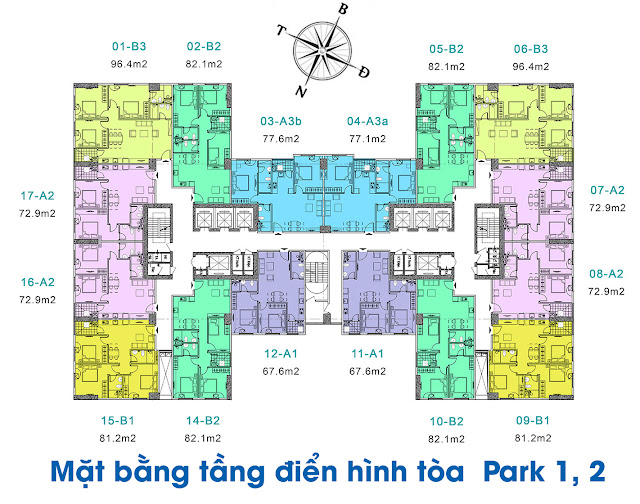 Mặt bằng tòa Park 1-2-3 chung cư EuroWindow River Park