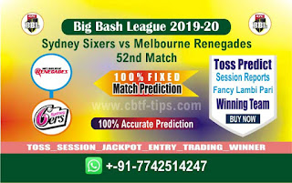 cricket prediction 100 win tips Sixer vs Renegades