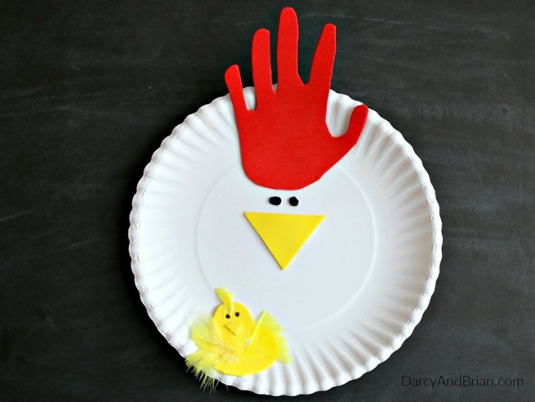 Easter crafts for preschoolers - Handprint chicken paper plate craft