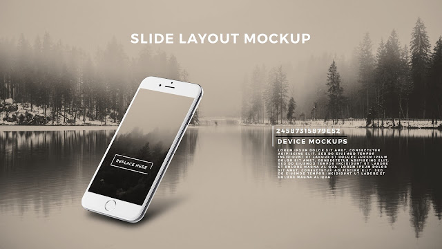 Perspective iPhone 6S Screen Mockup PowerPoint Template with Background