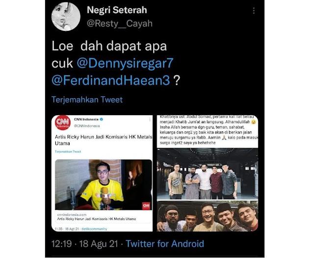 Artis 'Sunah' Ricky Harun Jadi Komisaris, Ferdinand Denny Siregar Diledek Netizen