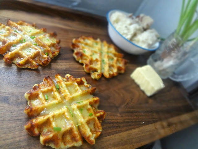 Mashed Potato, Cheddar, and Scallion Waffles