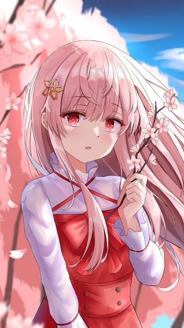 Girl, sakura tree, pink, anime iphone and desktop wallpaper.