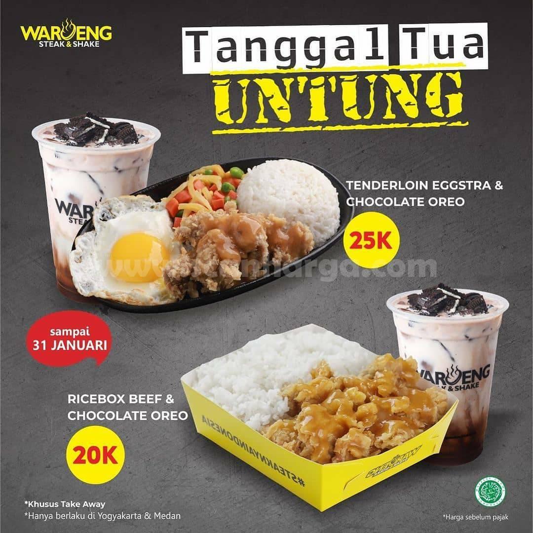 Waroeng Steak Promo Paket Tanggal Tua Untung! harga mulai Rp. 20K