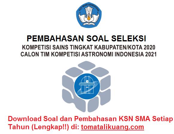 soal pembahasan osn ksnk astronomi sma tahun 2020 tingkat kabupaten kota; tomatalikuang.com