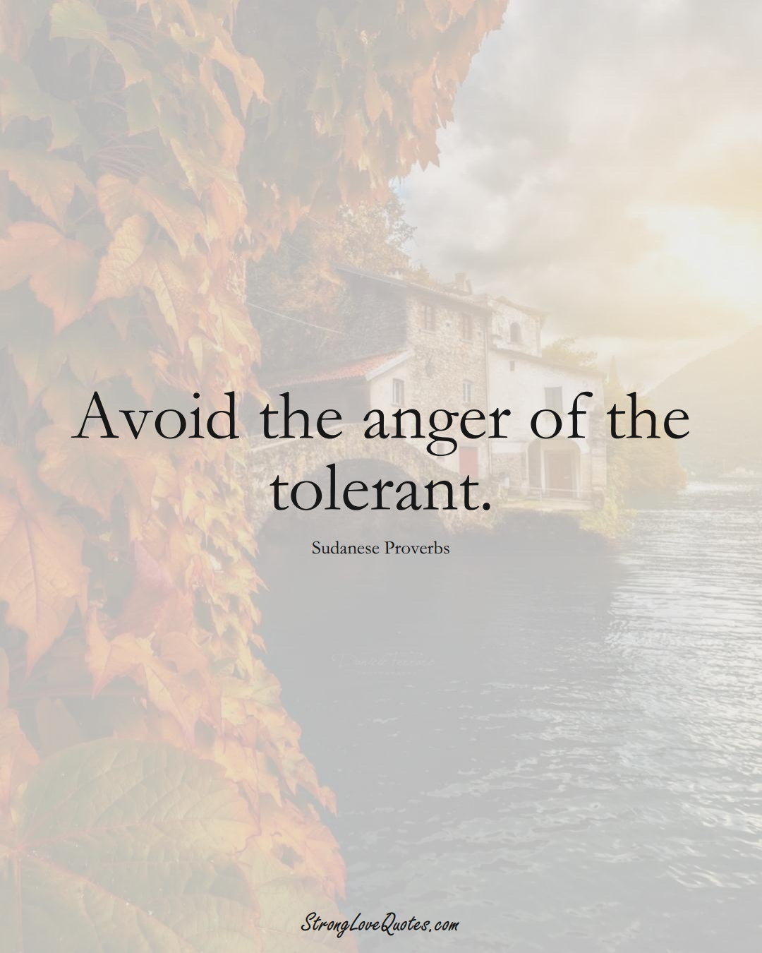 Avoid the anger of the tolerant. (Sudanese Sayings);  #AfricanSayings