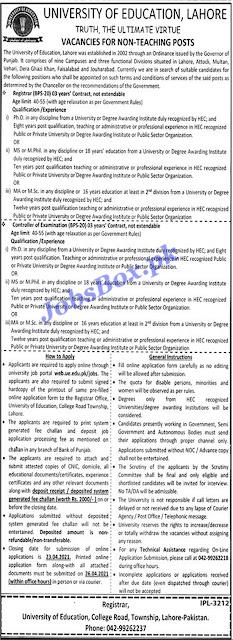 university-of-education-lahore-ue-jobs-2021-apply-online