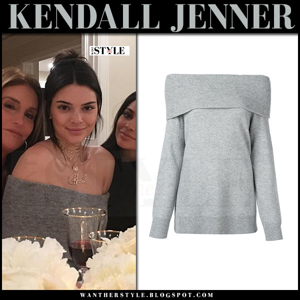 Kendall Jenner in grey off shoulder sweater alexander wang what she wore thanksgiving