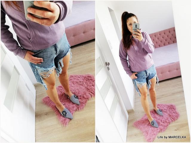 Blue Distressed Ripped High Waist Denim Shorts - Jovita