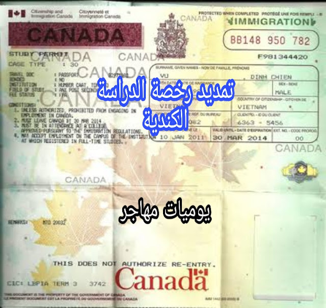 كيفية تمديد رخصة الدراسة الكندية