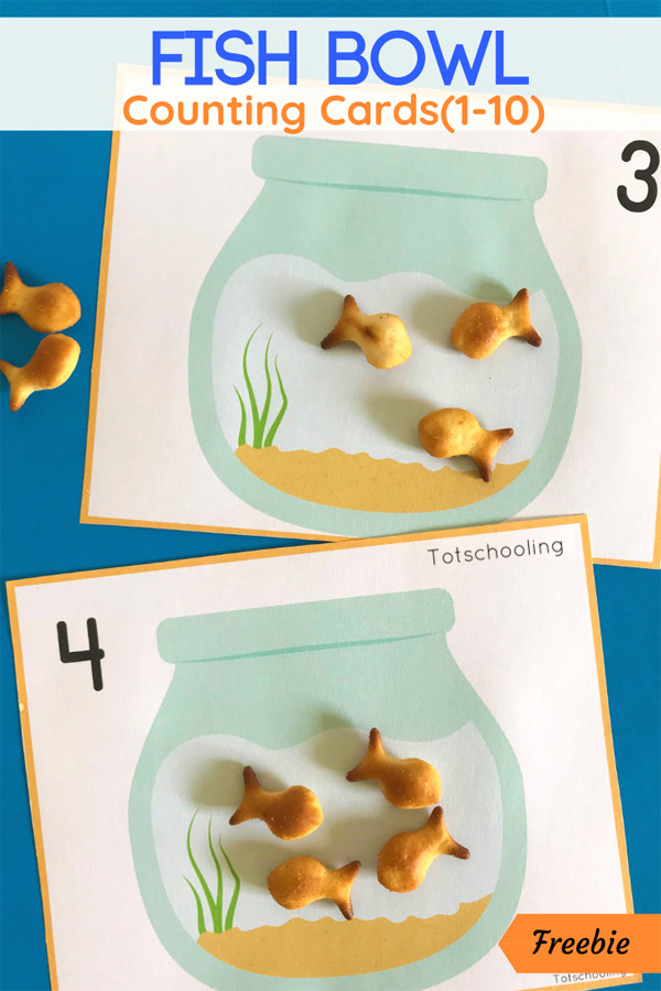 FREE printable counting cards featuring fish bowls designed to be used with Goldfish crackers. Great summer or fish themed activity for toddlers and preschoolers!