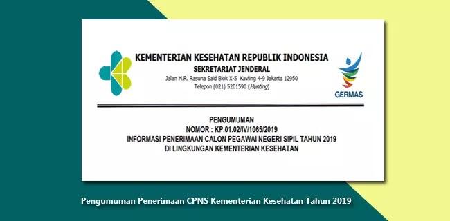 Pengumuman Penerimaan CPNS Kementerian Kesehatan Tahun 2019
