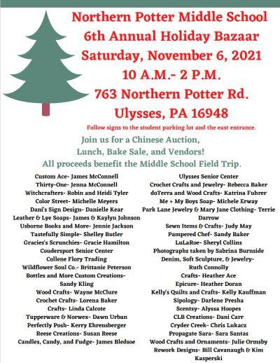 11-6 Northern Potter Middle School Bazaar