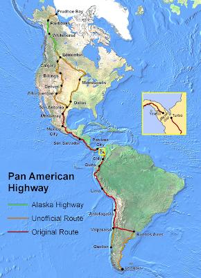 Mapa Ruta Panamericana y el Tapón de Darién