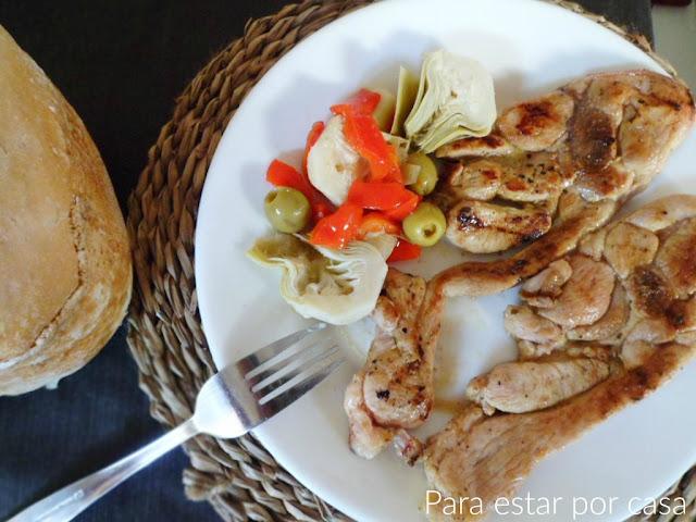chuletas de pavo marinadas y a la plancha
