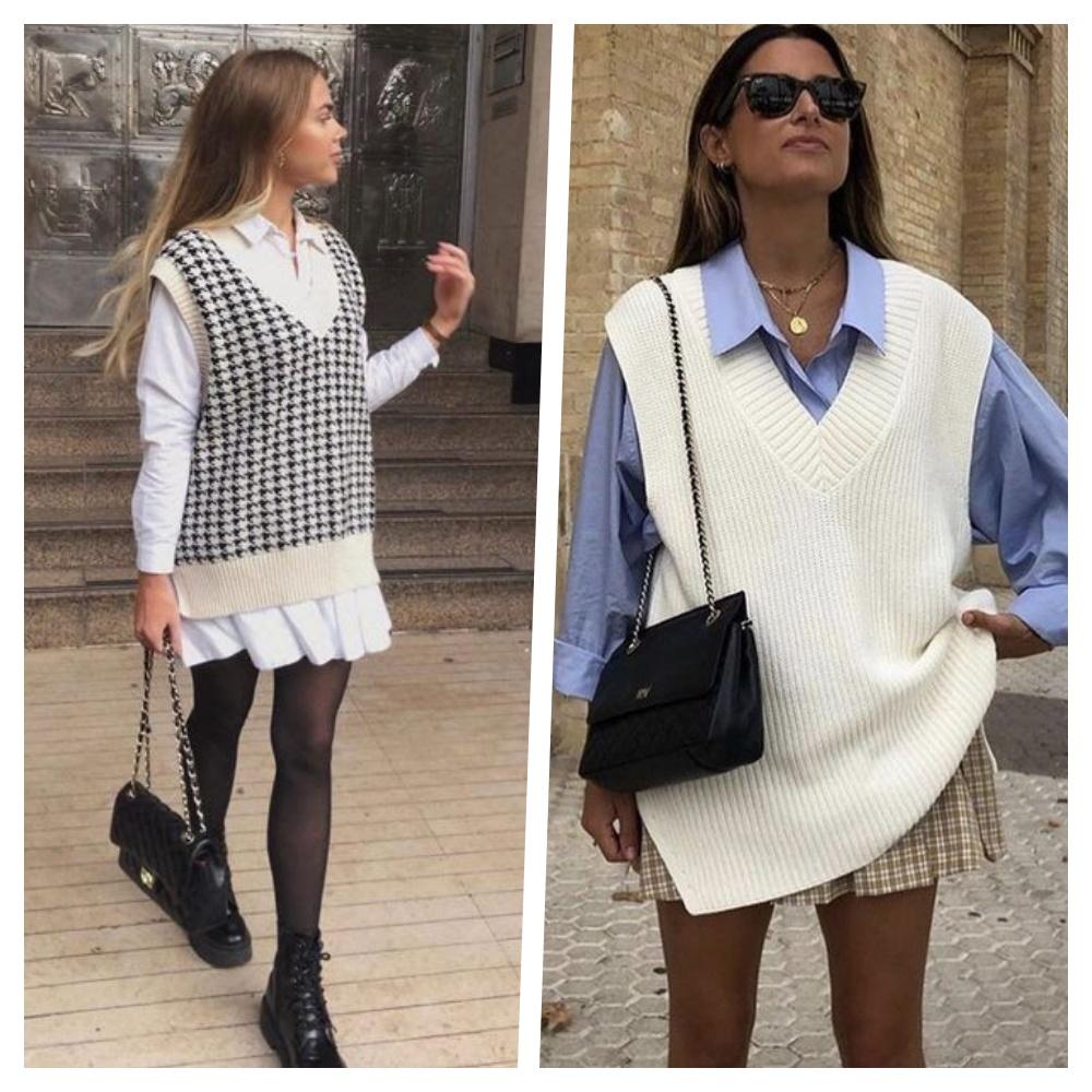 colete de tricô tendência