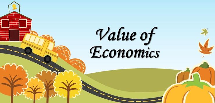 ほのぼのとした丘の上の家と車とValue of Economicsのロゴ