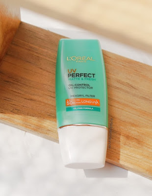 Review Loreal UV Perfect Matte & Fresh, loreal uv perfect, sunscreem loreal