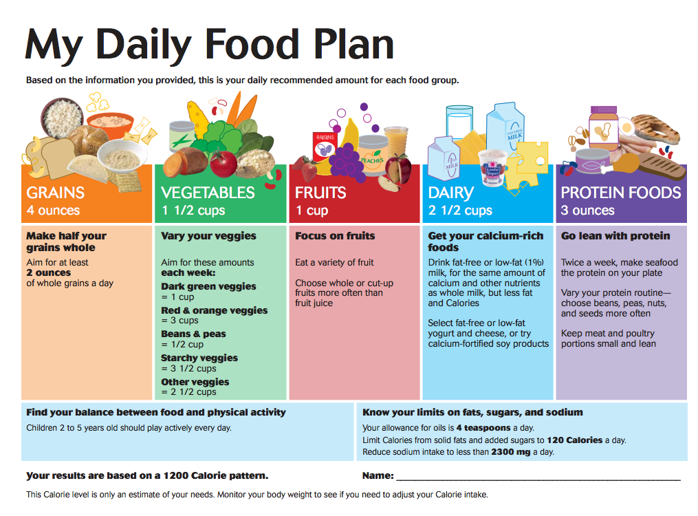 Daily Food Planner Chart