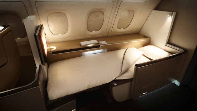First Class, Fully-Flat Bed