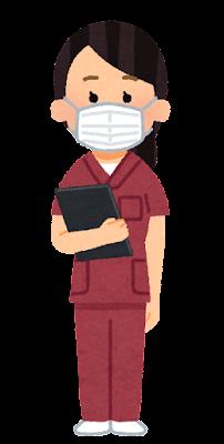 赤いスクラブを着た医療従事者のイラスト(女性)