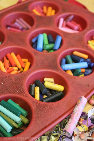 melting wax crayons
